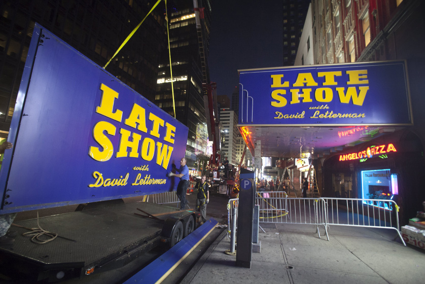 "Workers remove the marquee from Ed Sullivan Theater where ""The Late Show"" with David Letterman used to tape in Manhattan borough New York"